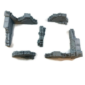 Wall Ruins 5-piece Set for 28mm Scale D&D or Wargaming Terrain - Miniature Town