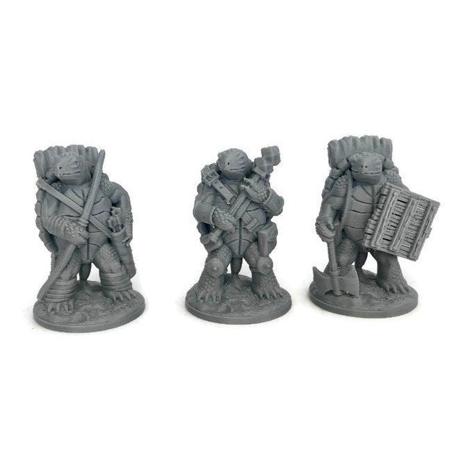 Tortle Mini 3-piece Set | 28mm miniature | Dnd Miniatures | Dungeons & Dragons Miniatures