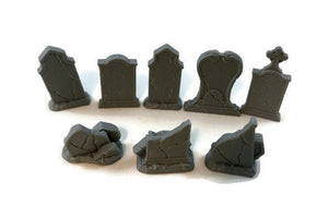 8-Piece Miniature Tombstone Set for 28mm Graveyard Scenery - Miniature Town
