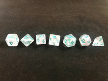 Load image into Gallery viewer, Winter Walker: 7 Piece Polyhedral Luminous Dice Set (Clear & Blue) - Miniature Town