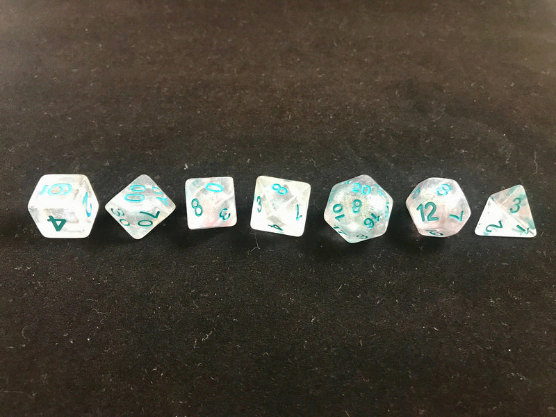 Winter Walker: 7 Piece Polyhedral Luminous Dice Set (Clear & Blue)