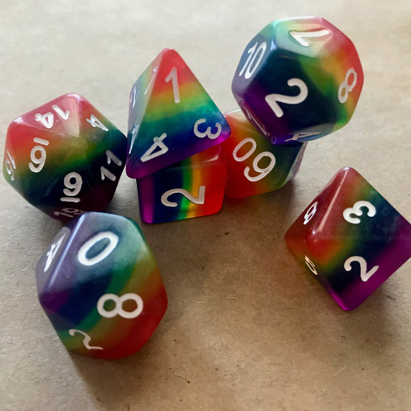 Rainbow Dice: 7 Piece Polyhedral Dice Set (Rainbow Colors)