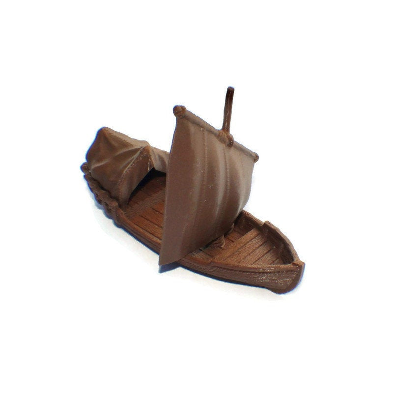 Pirate Skiff Boat for Tabletop RPG - 28mm Ships and Boats - Miniature Town