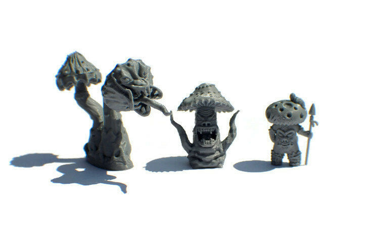28mm Mushroom Monster or Myconid Set of Miniatures for D&D Cavern Terrain - Miniature Town