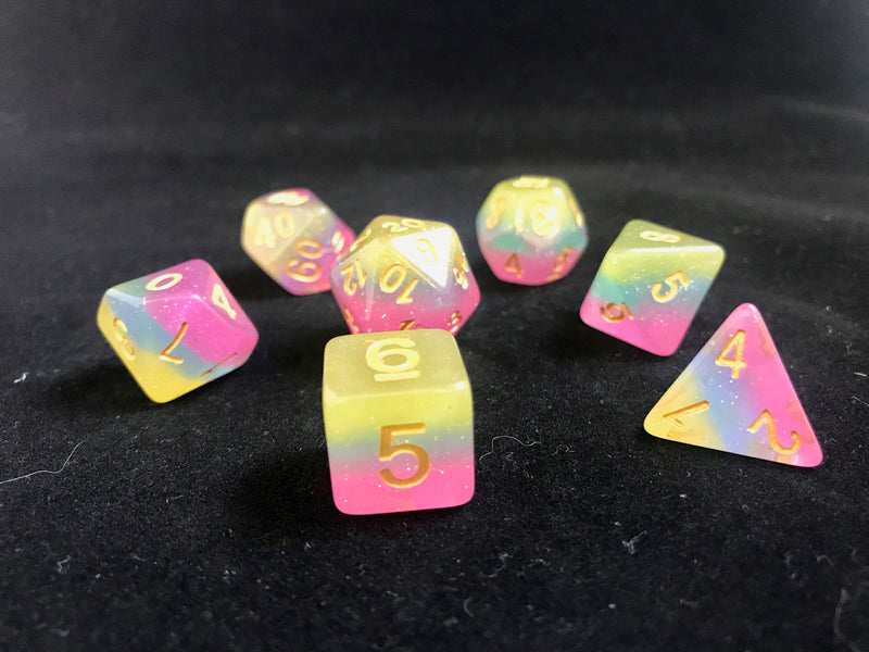Fairy Dust: 7 Piece Polyhedral Iridescent Dice Set (Pink Blue Yellow) - Miniature Town