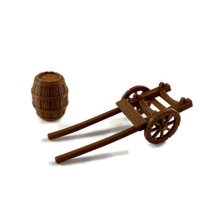 Barrel Cart for D&D Village Terrain Scatter 28mm Scale - Miniature Town
