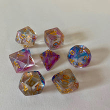 Load image into Gallery viewer, Pearl Swirl dice set: 7 Piece Polyhedral Pearl Swirl Dice Set (Blue & Purple) - Miniature Town