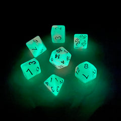 Glow in the Dark Dice: 7 Piece Polyhedral Dice Set (Orange & Green) - Miniature Town