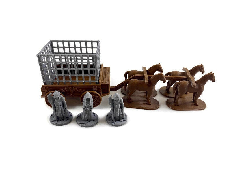 28mm Prison Wagon with Cage for D&D Village - Miniature Town