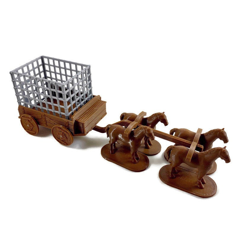 28mm Prison Wagon with Cage | Dungeon Terrain | D&d Terrain | Dungeons and Dragons Terrain | DnD Miniatures