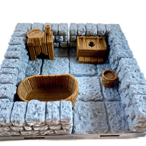 Miniature Bathroom Set 28mm Village Furniture for Dungeons and Dragons Terrain - Miniature Town
