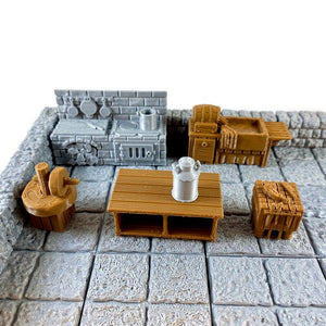 Miniature Kitchen Set 28mm Village Furniture for Dungeons and Dragons Terrain - Miniature Town