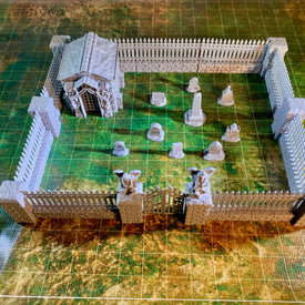 Large Cemetery Fence Set for 28mm Graveyard Scenery - Miniature Town