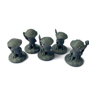 5 Myconid Mushroom Warriors | 28mm Scale Cave Monster Miniatures