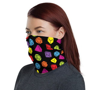 D&D Face Mask Dice Pattern Neck Gaiter for Dungeons and Dragons and Pathfinder