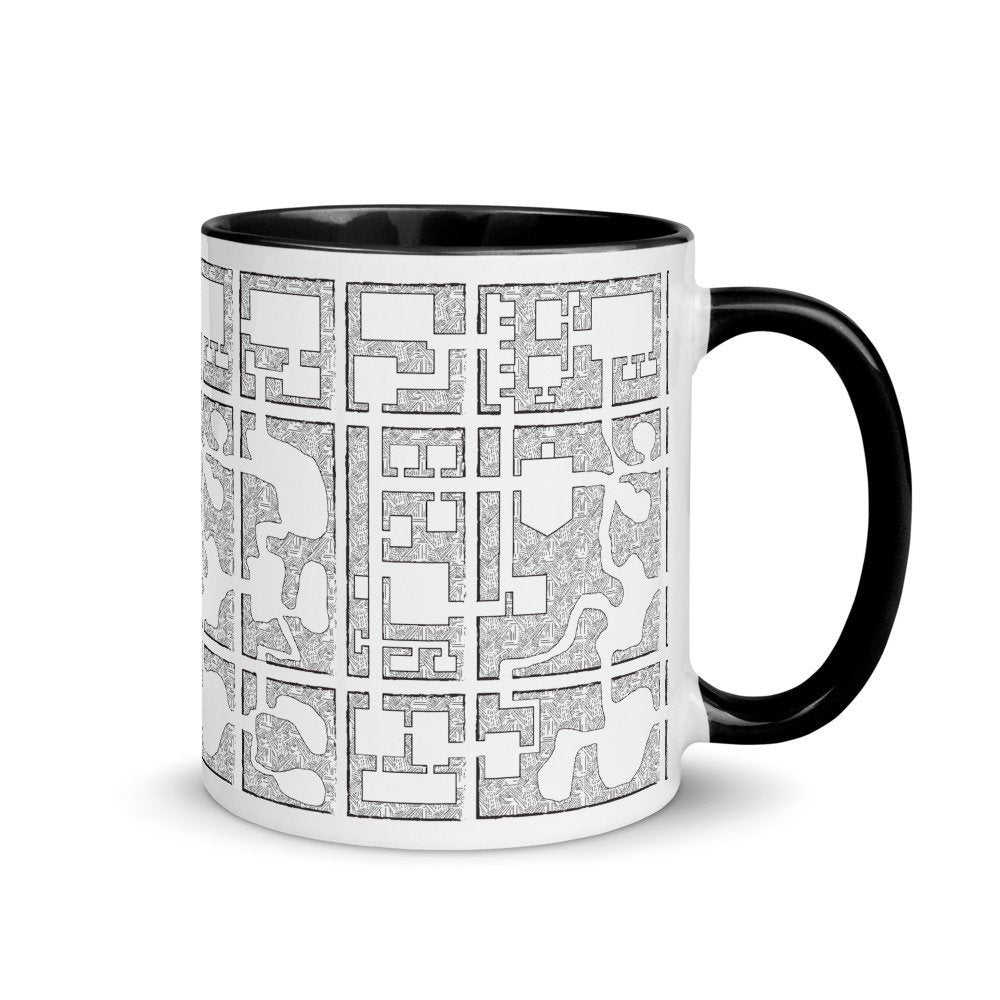 Dungeon Map D&D Mug for Dungeons and Dragons, Pathfinder and RPG Gamers