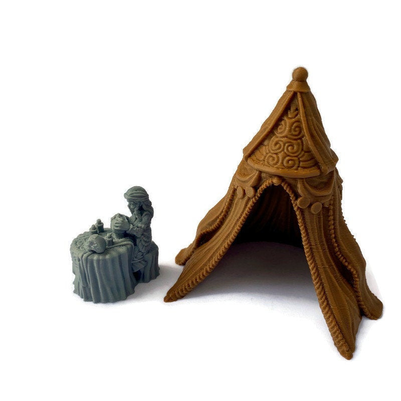 Fortune Teller and Tent 28mm Scale Miniature | Dungeons & Dragons Vistani Gypsy Miniature