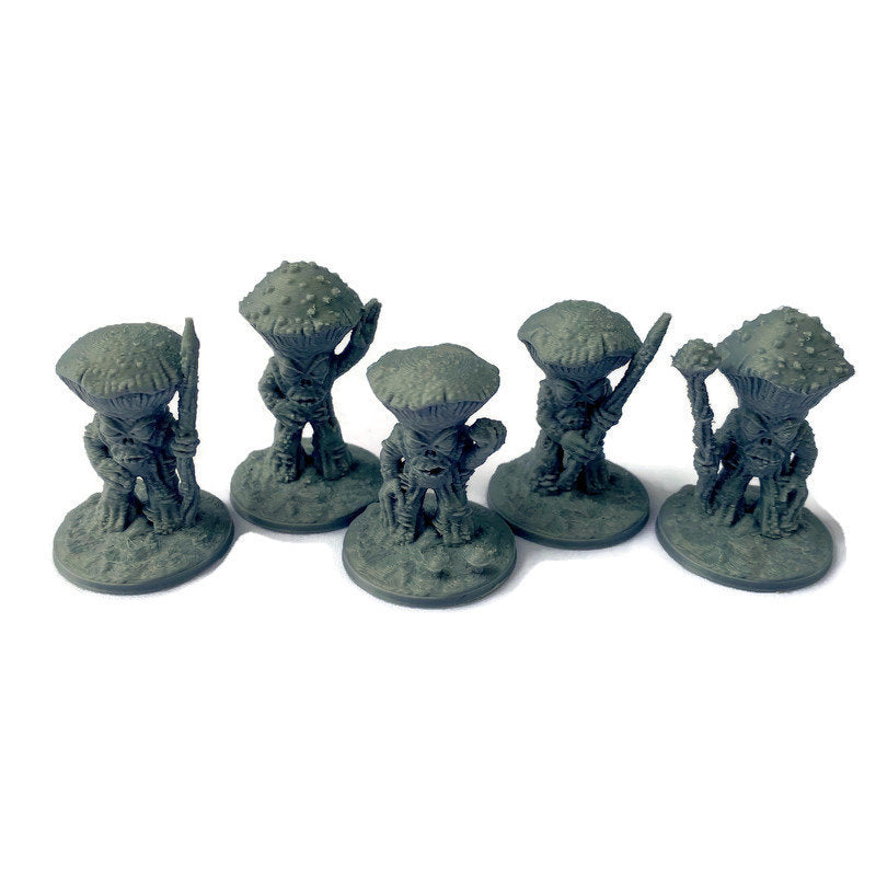 5 Myconid Mushroom Warriors 28mm Scale Cave Monster Miniatures for D&D Terrain