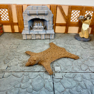 Bear Rug 28m Scale Miniature for D&D Village | Dungeons and Dragons Pathfinder Tabletop RPG