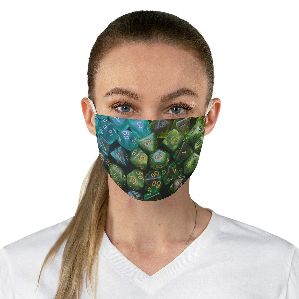 D&D Face Mask with Blue Green Dice Photo | Dungeons and Dragons Pathfinder Tabletop RPG Gift