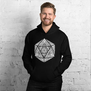 D&D D20 Hoodie with Dice Flower Mandala | Dungeons and Dragons Tabletop RPG Patfinder