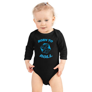 D&D Baby Onesie Born to Roll d20 Long Sleeve Bodysuit | Dungeons and Dragons Tabletop RPG Pathfinder