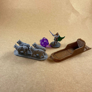 D&D Sled Dogs and Sled 28mm Scale Miniature Set | Dnd Miniatures | Dungeons and Dragons Winter Terrain Miniatures