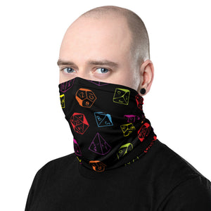 D&D Face Mask Dice Pattern Neck Gaiter for Dungeons and Dragons or Pathfinder