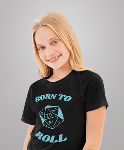 D&D Kids Shirt Born to Roll with d20 Dice | Heavy Cotton Tee