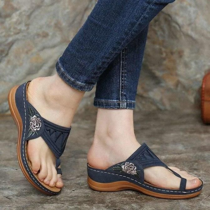 Embroidery Comfy Flip Flop Sandals