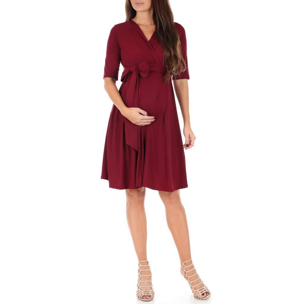Maternity Casual Dress Solid Color