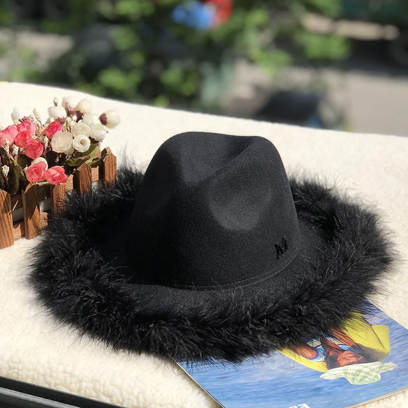 NEW HOT! M Feather Woolen Hat