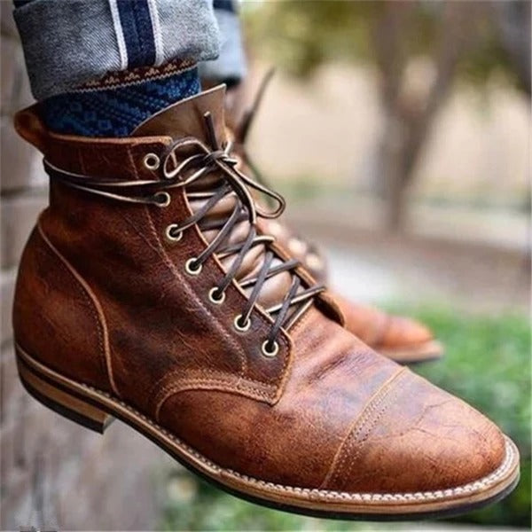 Men Vintage Genuine Leather Ankle Boots