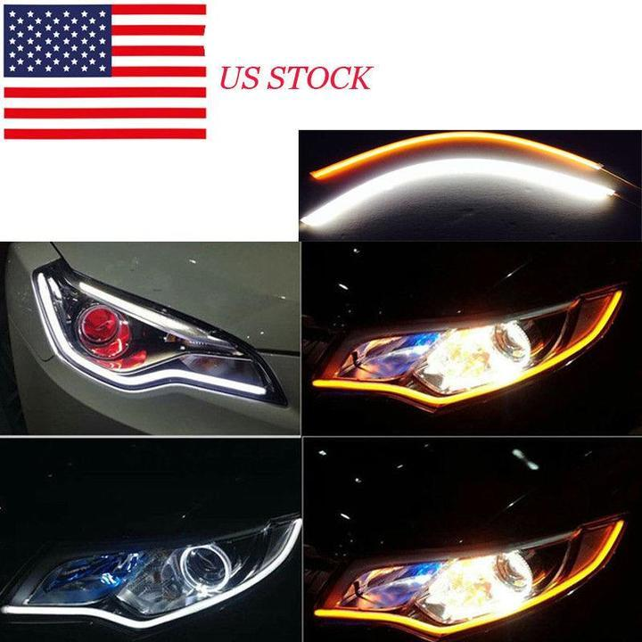 Flexible DRL LED Night & Daytime Running Light Strip (No Disassembling Needed)
