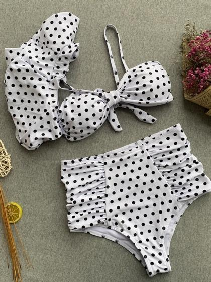 White Bikini Set Polka Dot Print Ruffle Trim
