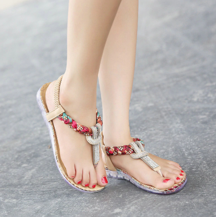 Summer Sandals Women T-strap Flip Flops Designer Elastic Band