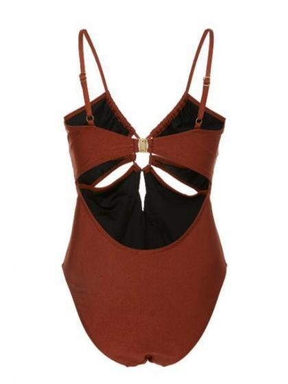 Brown One-Piece Swimsuit Plunge Cut Out Ring-Detailed
