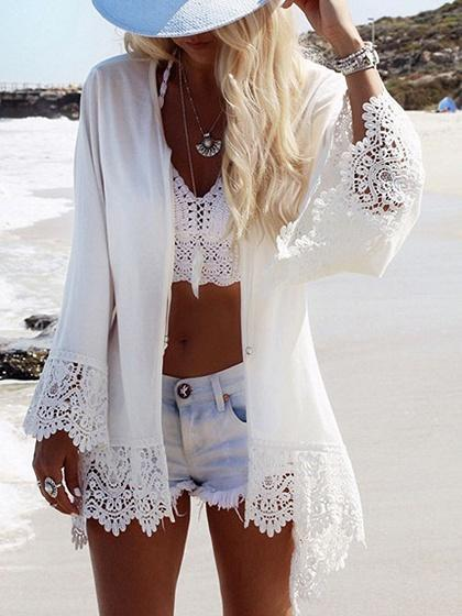 White Eagle Print Lace Panel Open Front Long Sleeve Cardigan