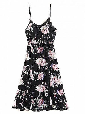 Black Cotton Blend Floral Print Ruffle Trim Chic Women Cami Midi Dress