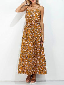 Khaki Cotton Blend Floral Print Open Back Chic Women Cami Maxi Dress