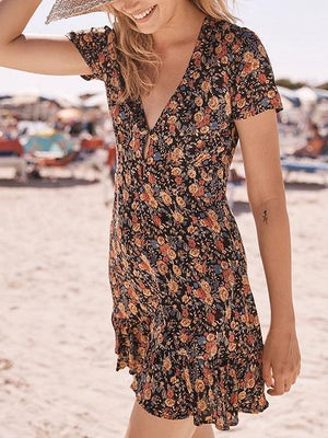 Black V-neck Floral Print Chic Women Mini Dress