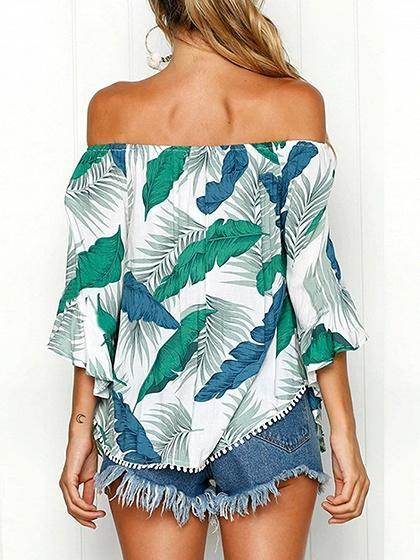 Green Off Shoulder Leaf Print Ruffle Sleeve Chic Women Blouse