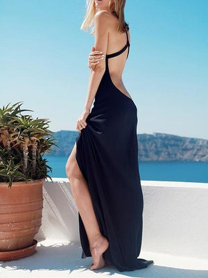 Black V-neck Thigh Split Front Open Back Chic Women Cami Maxi Dress