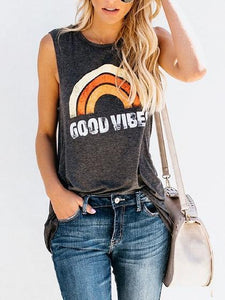 Gray Cotton Rainbow And Letter Print Sleeveless Chic Women T-shirt