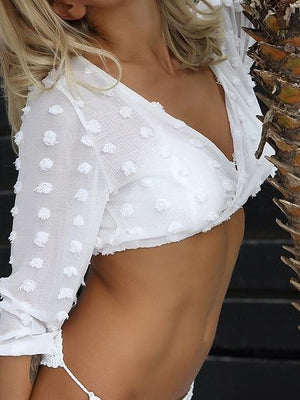 White Women Crop Top V-neck Puff Sleeve