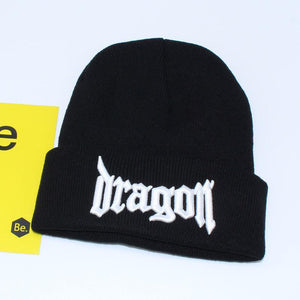 Dragon Embroidery Knit Beanie Hat