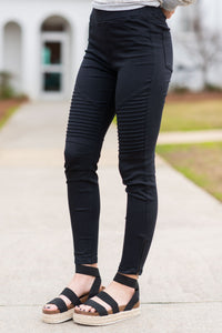 On The Edge Black Moto Jeggings