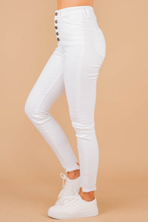 jeans, skinny jeans, white jeans, raw hems, pockets, white, high waist, buttoned closure