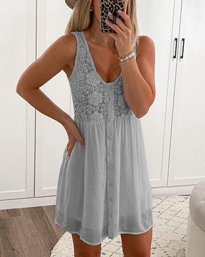 Lace Floral Sleeveless Dress (6 Colors)
