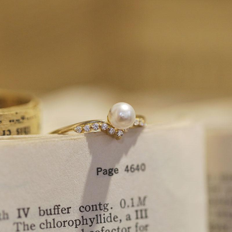 Open White Pearl Ring